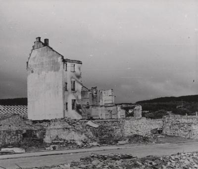 Utbombet bygning i Namsos