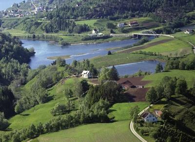 Hus mark skog veg bro elv