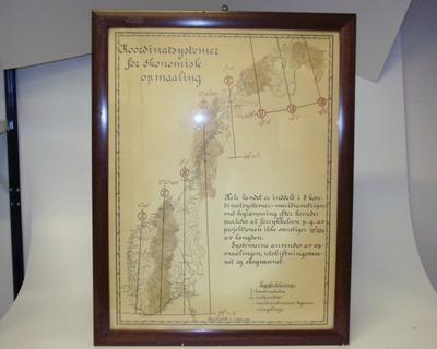 Oversiktskart i glass og ramme