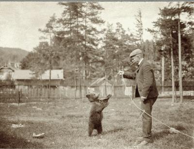 Mann og bjørnunge ved stakittgjerde