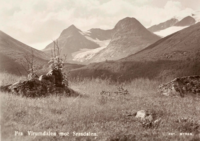 Postkort med motiv fra Virumdalen mot Srasdalen (Grasdalen?) i Sunndal kommune